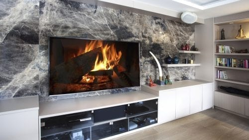 New Villa House Fireplace Bathroom Perla Brown