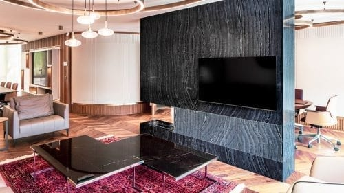 Headquarter Office Flooring Fireplace Office Silver Wave Pantera Grigio